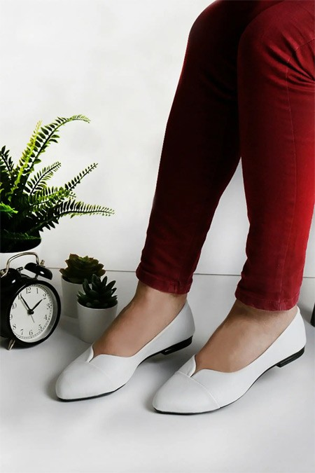 Renkli Butik Kadın Beyaz Babet Ayakkabı