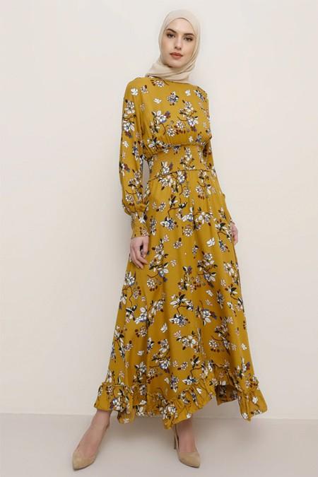 Tavin Safran Doğal Kumaşlı Çiçek Desenli Elbise