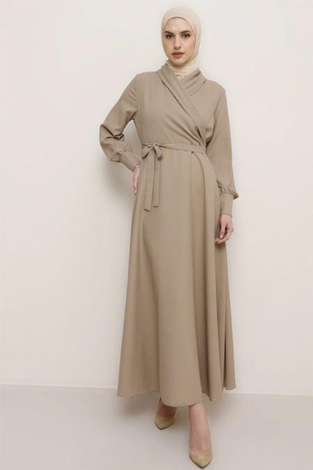 Tavin Vizon Doğal Kumaşlı Kruvaze Yaka Elbise