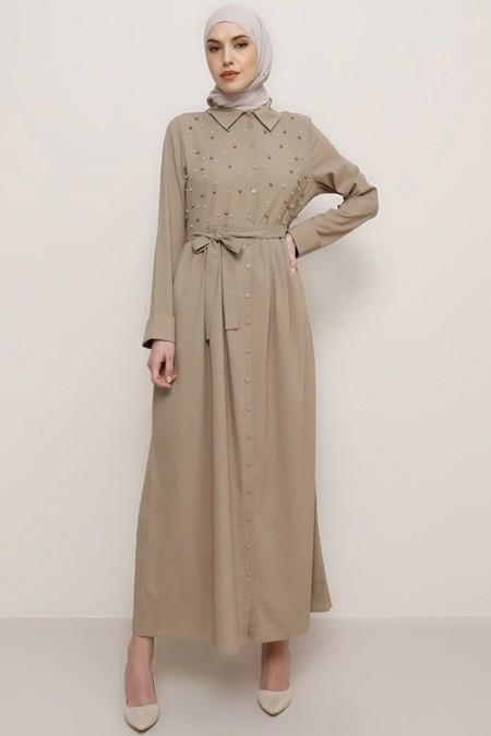 Tavin Vizon İncili Uzun Elbise