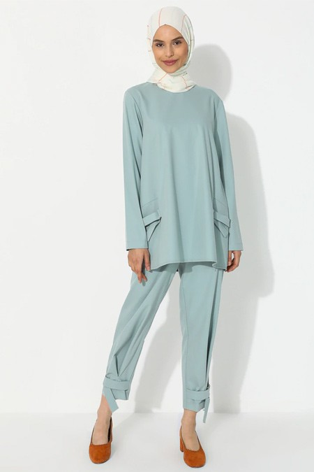 YAQA Turkuaz Mavi Tunik & Pantolon İkili Takım