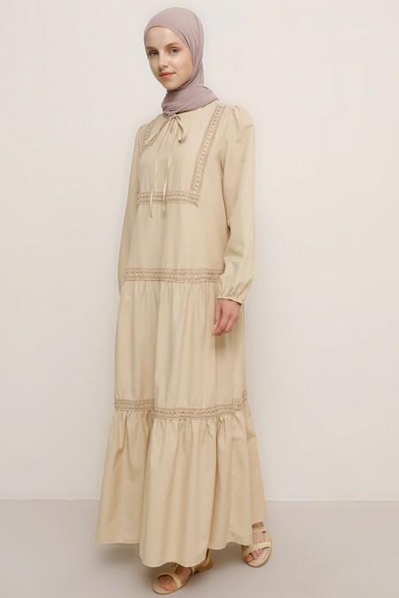 Benin Camel Dantel Detaylı Elbise