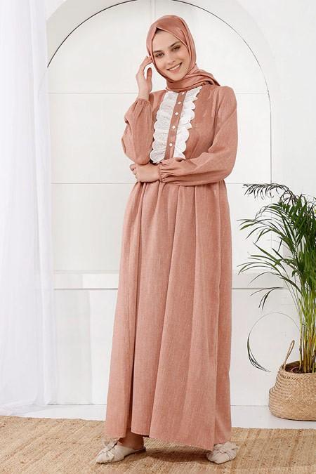 İnşirah Kol Uçları Lastik Detaylı Bej Elbise