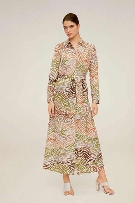 Mango Desenli Gömlek Elbise