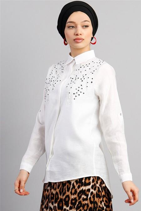 Modamelis Çiçek Nakışlı Gömlek