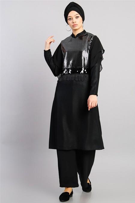 Modamelis Siyah Önü Payet Şifonlu Tunik