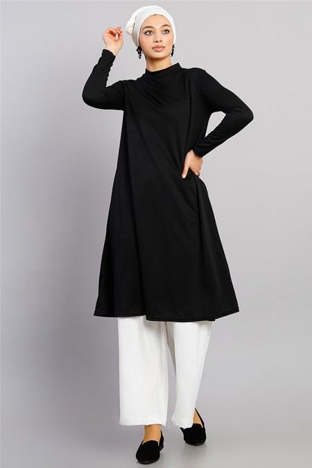 Modamelis Siyah Uzun Basic Tunik