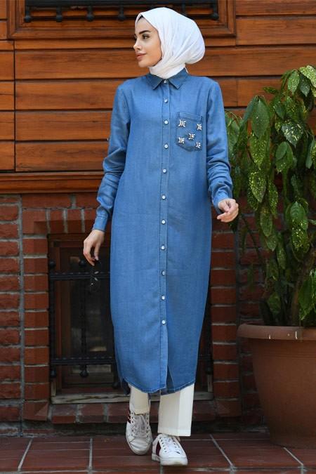 Neways Cebi Taşlı Koyu Mavi Tensel Tunik