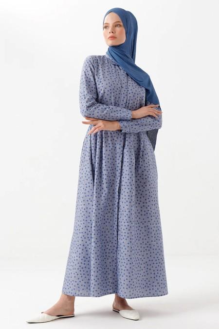 Phull Mavi Bebe Yaka Puantiyeli Ketenli Elbise
