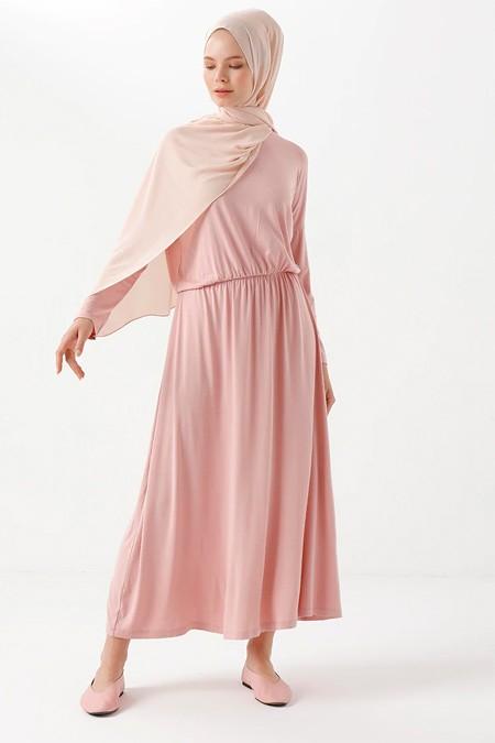 Phull Pudra Beli Büzgülü Elbise