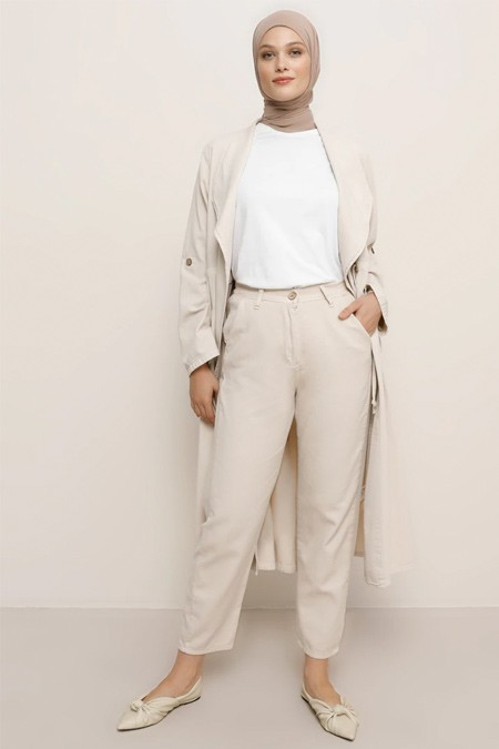 Refka Bej Doğal Kumaşlı Beli Lastikli Pantolon
