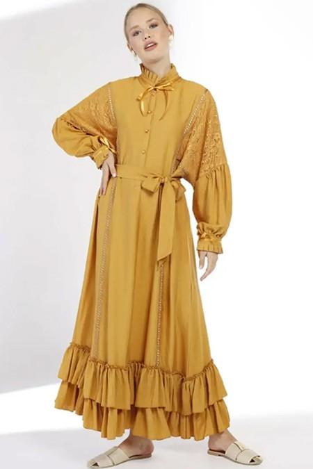 She Sea Hardal Fırfırlı Oversize Viskon Elbise