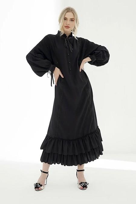 She Sea Siyah Maylo Elbise