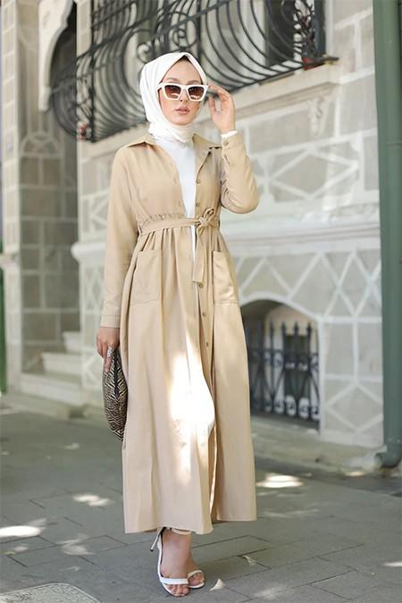 Tofisa Bej Tesettür Cepli Elbise