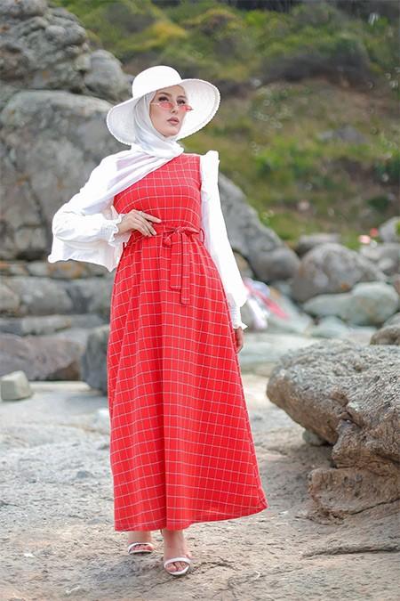 Tofisa Kırmızı Tesettür Elbise