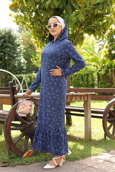 Tofisa Lacivert Tesettür Elbise