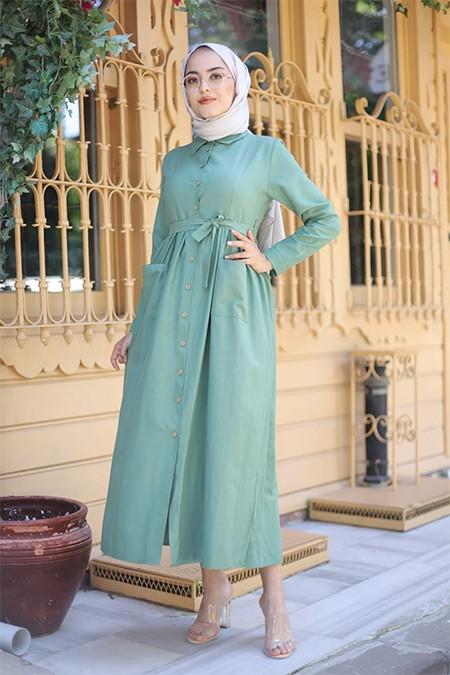 Tofisa Yeşil Tesettür Cepli Elbise