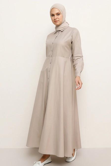 Everyday Basic Vizon Boydan Düğmeli Elbise