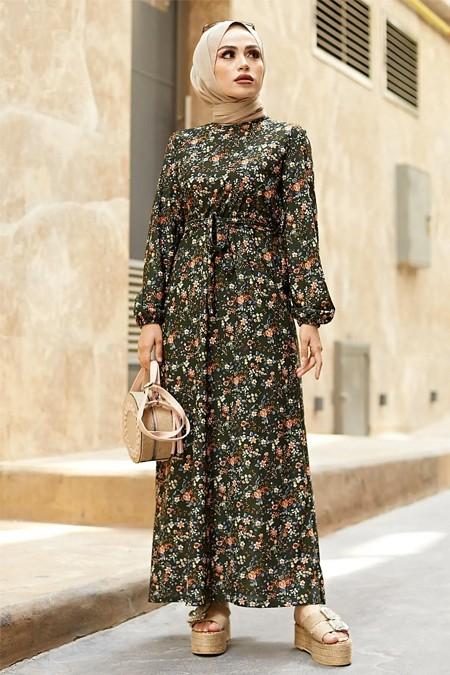 Festmoda Haki Kuşaklı Büzgülü Elbise