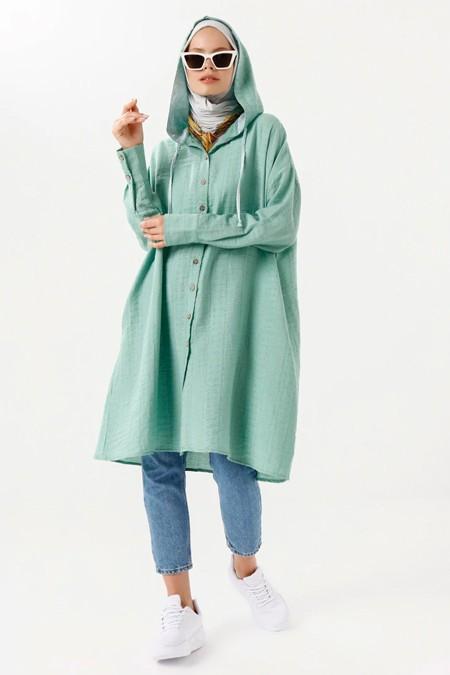 Phull Yeşil Kapüşonlu Tunik