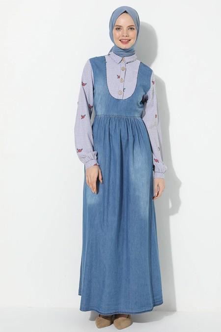 Suem Açık Mavi Kolu Yakası Garnili Kot Elbise
