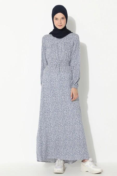 Suem Mavi Çiçek Desenli Elbise