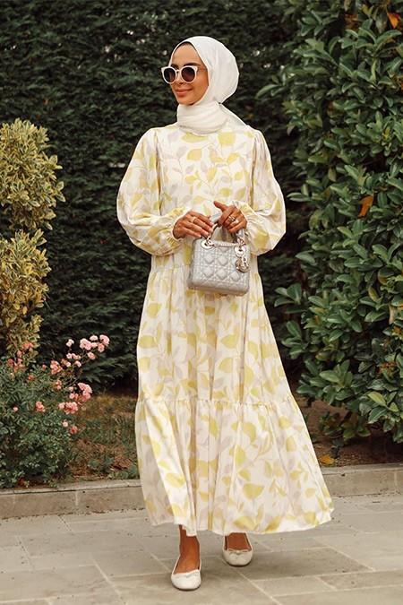 TERZİ DÜKKANI Sarı Yaprak Samba Elbise