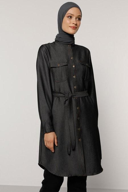 Refka Siyah Cep Detaylı Kuşaklı Denim Tunik