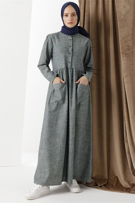 Phull Gri Kot Organik Kumaş Elbise