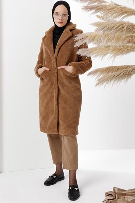 Vera Moda Taba Peluşlu Kürk Kaban