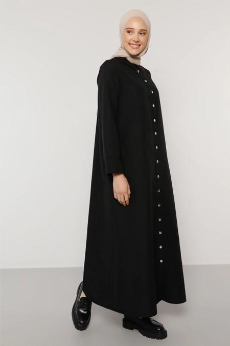 Benin Siyah Çıtçıtlı Elbise