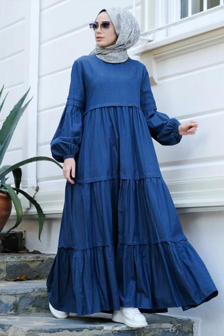 Neways Koyu Mavi Balon Kol Elbise
