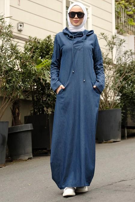 Neways Lacivert Kapüşonlu Kot Elbise