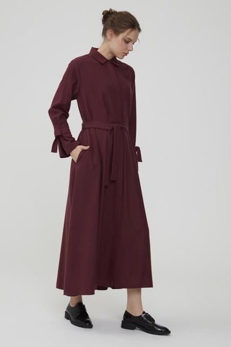 Normcore Bordo Kuşaklı Doğal Kışlık Kumaş Elbise