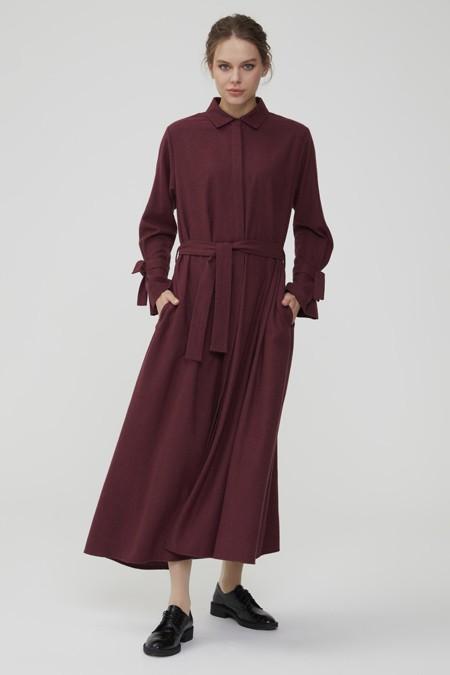 Normcore Bordo Gizli Düğmeli Kuşaklı Doğal Kumaş Elbise