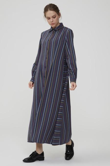 Normcore Lacivert Renkli Çizgili Doğal Kumaş Elbise