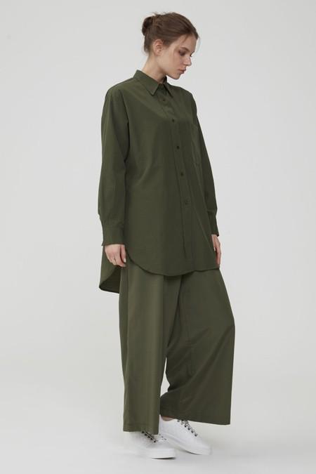 Normcore Haki Doğal Kumaşlı Gömlek Pantolon Takım
