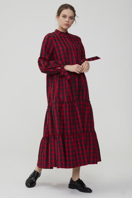 Normcore Kırmızı Kolu Bağlamalı Kaşmir Pötikare Elbise