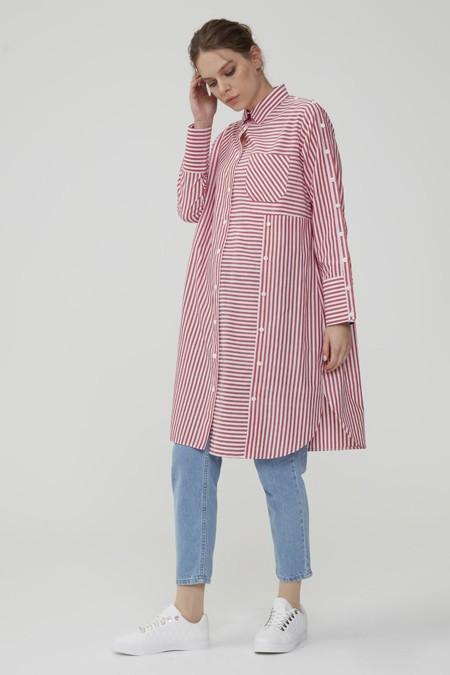 Normcore Doğal Kumaşlı Kırmızı Çizgili Tunik