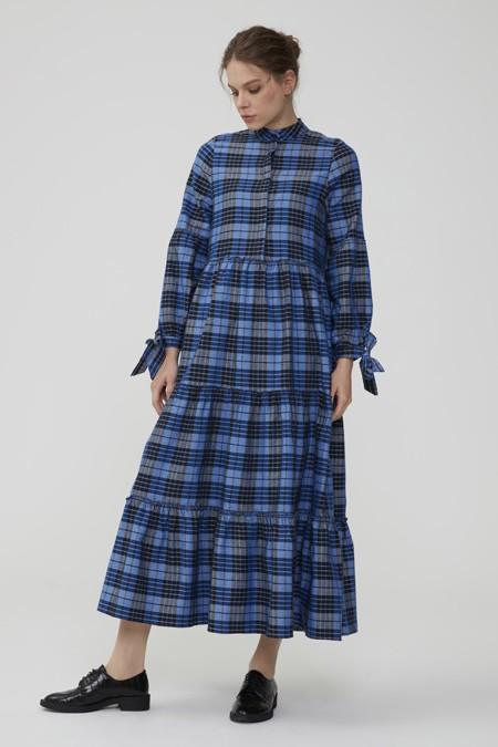 Normcore Mavi Kolu Bağlamalı Kaşmir Ekose Elbise