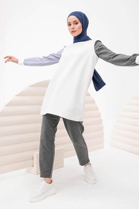 İnşirah Beyaz Tunik&Pantolon İkili Takım