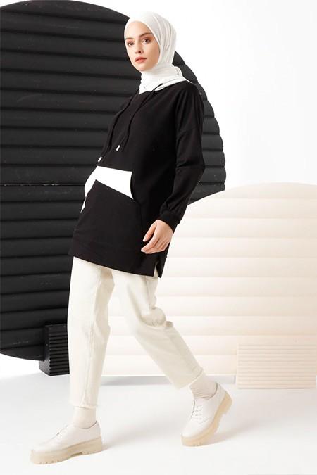 İnşirah Siyah Cep Detaylı Sweatshirt