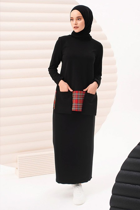 İnşirah Siyah Tunik&Etek İkili Takım