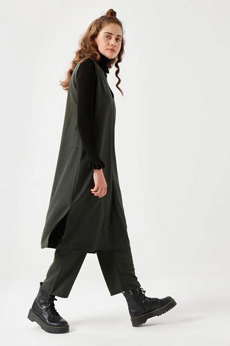 Ceylan Otantik Yeşil Kolsuz Tunik&Pantolon İkili Takım