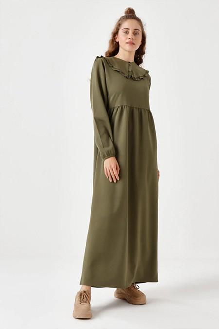 Ceylan Otantik Yeşil Seyyar Yaka Belden Robalı Elbise