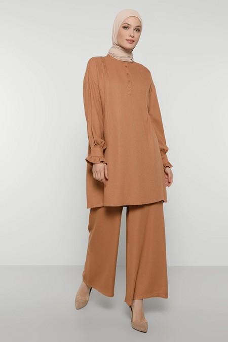 Refka Camel Yakası Düğmeli Manşet Detaylı Tunik