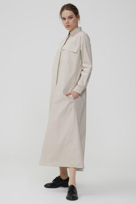 Normcore Taş Gizli Düğmeli Uzun Tunik Elbise