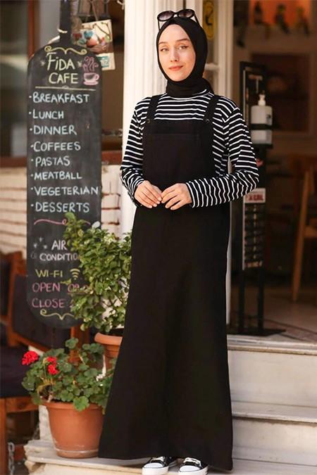 Ceylan Otantik Siyah Kot Salopet Elbise