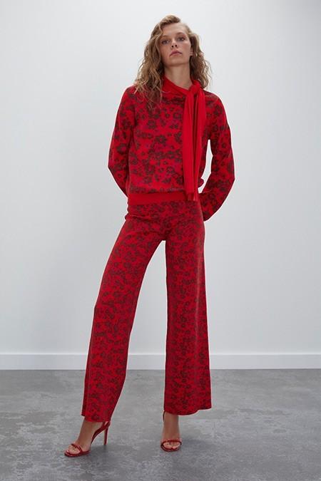 Join Us Kırmızı Çiçek Desenli Beli Lastikli Triko Pantolon