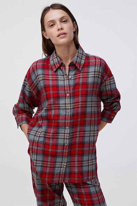 Oysho Kırmızı %100 Pamuklu Kareli Gömlek